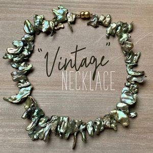 Vintage shell iridescent necklace jewelry